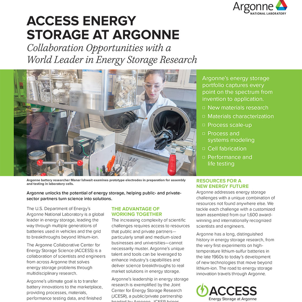 Access Energy Storage at Argonne