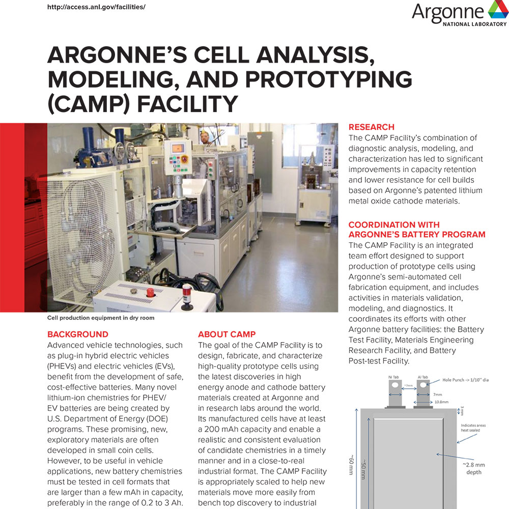 Argonne's Cell Analysis, Modeling, and Prototyping (CAMP) Facility
