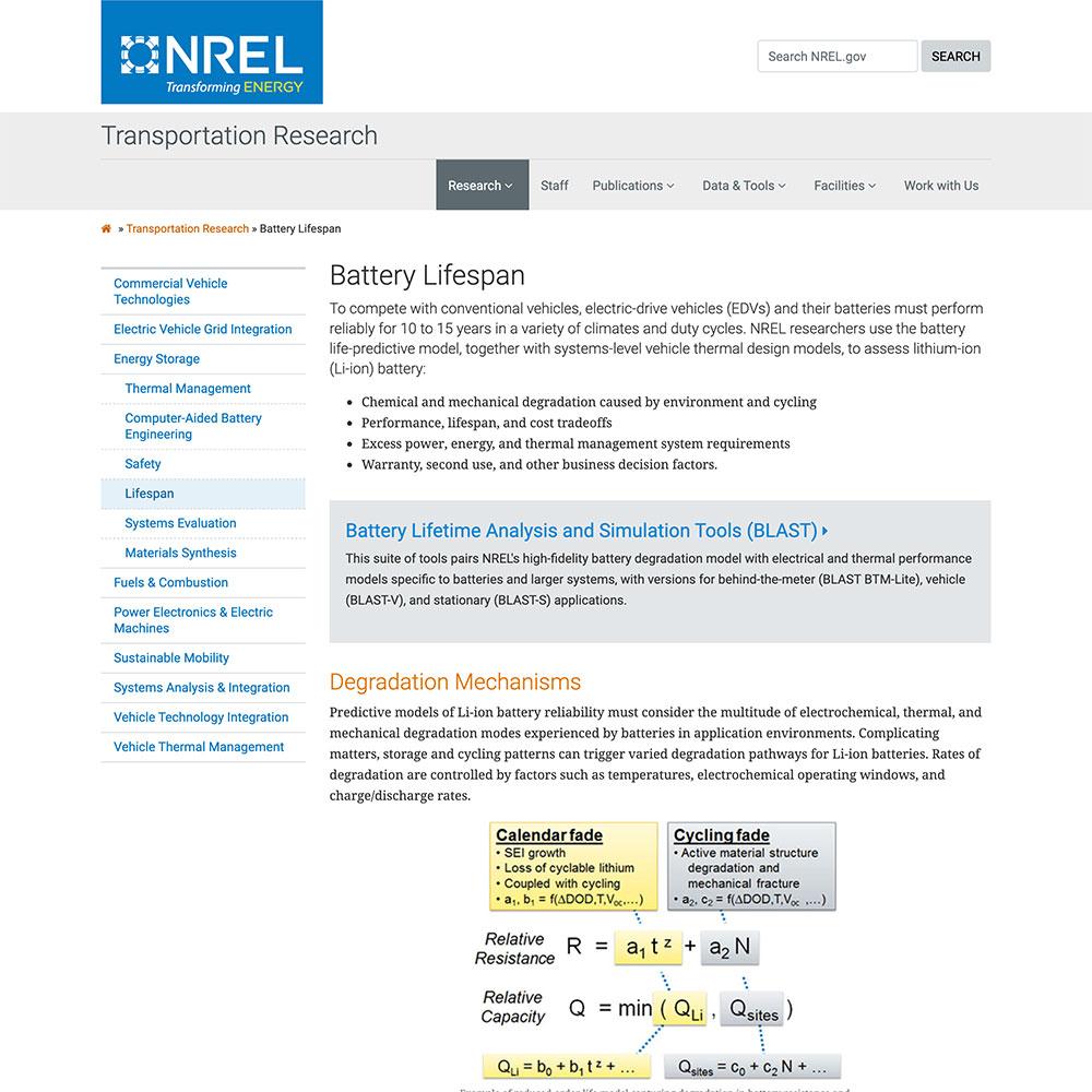 NREL Battery Lifespan