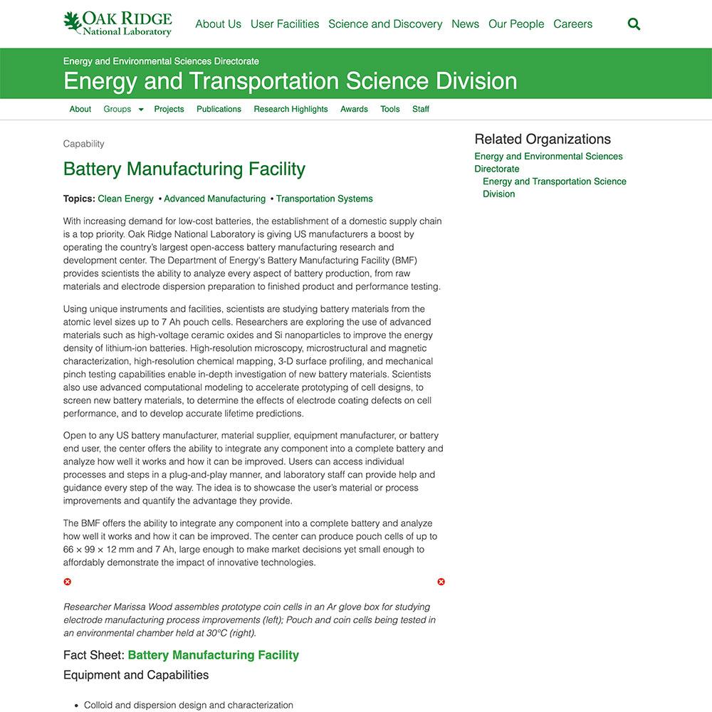 Oak Ridge National Laboratory Battery Manufacturing Facility
